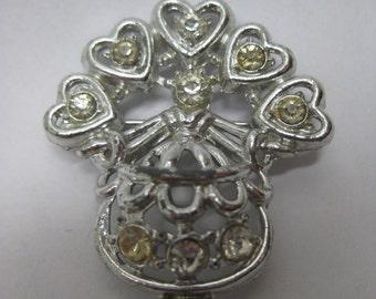 Woman Hearts Rhinestone Brooch Vintage Clear Pin