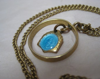 Mother Mary Blue Enamel Necklace Gold Dangle Vintage Pendant Christian Religious