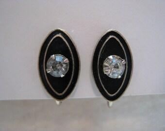 Black Rhinestone Enamel Earrings Screw Gold Vintage
