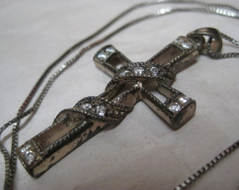 Cross Sterling Crystal Necklace Clear Christian Pendant Vintage 925