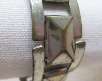 Shabby Link Silver Bracelet Modern Vintage