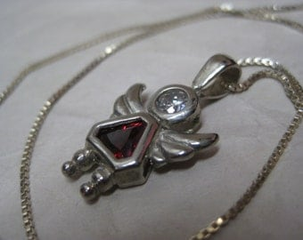 Angel Girl Red Sterling Necklace Vintage Pendant 925 Silver Clear Faceted Stone CZ