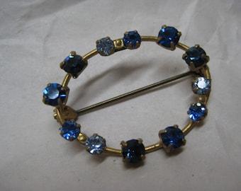 Blue Gold Rhinestone Brooch Vintage Pin Austria