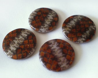 20mm Brown Animal skin print shell stone round coin bead 6pcs