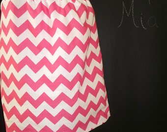 BUY 2 get 1 FREE - Skirt - Chevron - Pink and White - Made in ANY Size - Boutique Mia