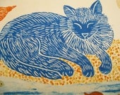 Blue Cat Dreaming of Birds and Fish, original block print, printmaking