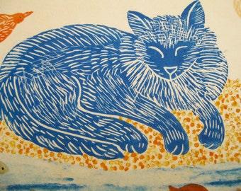 Blue Cat Dreaming of Birds and Fish, original block print, printmaking