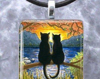 Pendant 1x1, Square, Tray, Jewelry Necklace Earrings black Cat 582 art painting by L.Dumas