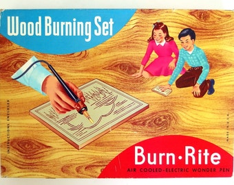 Vintage Empty Wood Burning Set Box by Burn Rite