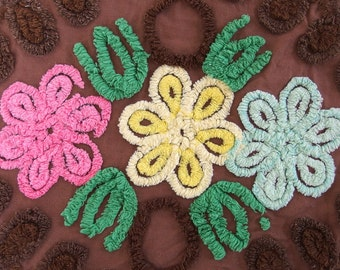 Vintage Brown Chenille with Pink, Yellow and Mint Green Flowers for Crafting 34 x 25