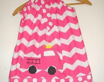 Fire Truck dress SALE 10% off code is tiljan   Pink Chevron  appliqued pillowcase dress sizes  3,6,9,12,18, months , 2t, 3t, 4t, 5t, 6. 7,8