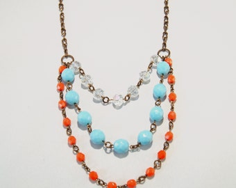 Orange Light Blue Natural Brass necklace by CURRICULUM