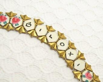 Vintage Art Deco Souvenir Bracelet Biloxi Mississippi Enamel Jewelry  B3482