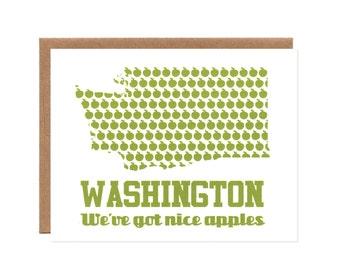 Washington: We've Got Nice Apples -- Screenprinted Card