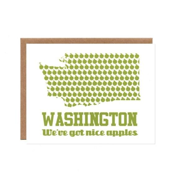 Washington: We've Got Nice Apples -- Screenprinted Card