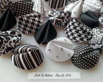 Paper Fortune Cookie Wedding Favors - Black, White, Bling - Houndstooth, Stripe, Dot, Damask, Script, Floral - Birthday,  Shower, Reunion