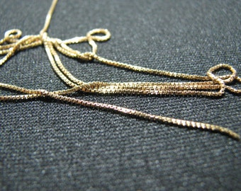 20 feet Gold Filled Box Chain 0.7mm Fine Unfinished Bulk on spool for jewelry making, 6 meters continuous bulk chain