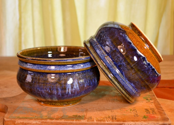 Bowl ceramic cereal, soup dessert, stoneware tableware, glazed in caramel blue, handmade by hughes pottery