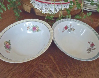 """2 BOWLS-VinTage 7"""" x 2 1/4"""" China Bowls- floral patterns-loveLy-irridescent edges-coordinating bowls-made in Japan"""