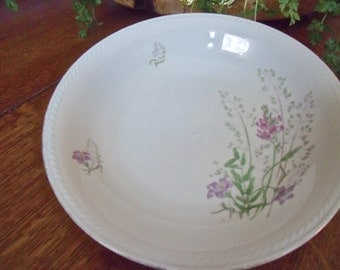 "vinTage 7 1/2"" x 1 1/2"" BOWL-""WINTERLING-Bavaria GERMANY""-purple/lavender/green floral/design"