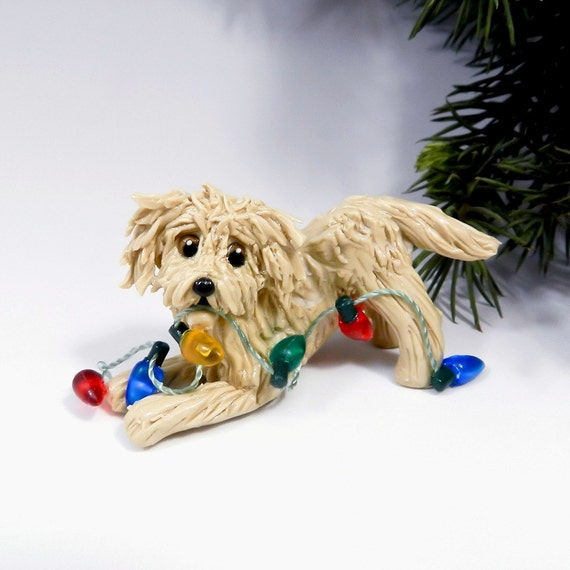 MaltiPoo Apricot Christmas Ornament Figurine Lights Porcelain - Snap Maltipoo Ornament Etsy Photos On Pinterest