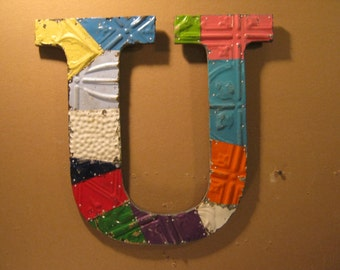 "Tin Ceiling Wrapped 16"" Letter ""U"" Patchwork Reclaimed Metal Mosaic Wall Hanging S1502-13"