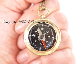 North East South West. Working Compass Necklace - Solid Brass Pendant - Free Domestic Shipping
