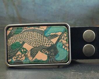 Western belt buckle, Koi fish