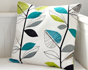 decorative pillow cover teal blue lime green grey leaves, cushion cover 16 inch
