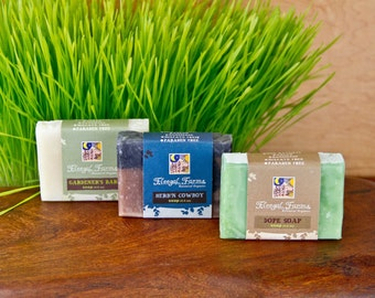 Manly Trio .Three bars of soap for your man in all natural earthy combinations.Father's Day Gift* Groomsmen Gift* Gift For Dads & Grads.