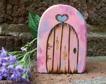 Rounded Fairy Door Fridge Magnet, Gnome Door Magical Portal 2 1/2 inch,  PInk and Blue Tie Dye with Heart