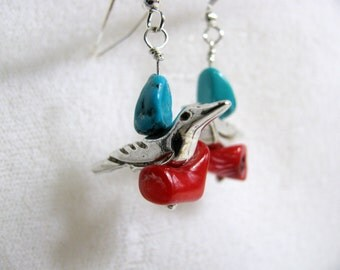 Sterling Silver Bird Earrings with Coral and Turquoise Beads RKS404