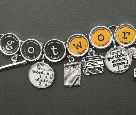 Writers Charm Bracelet Got Words Authors Literary Bookish Jewelry
