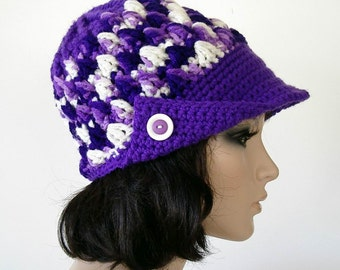 Crochet Textured Newsboy Button Bill Cap Hat Purple Lavender White