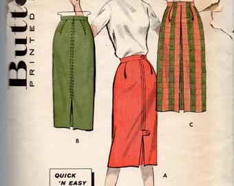 Butterick 8759 1950s Misses Slim Sheath SKIRT Pattern 1 Yard EASY Womens Vintage Sewing Pattern Waist 28 Hip 38