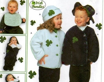 Simplicity 9126 IRISH BUNDLES Infant and Toddlers Accessories Pattern Costume for Boys Girls Sewing Pattern UNCUT