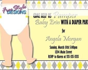 Custom Yellow & Grey Argyle Diaper Shower Invitation - Boy or Girl
