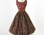 vintage 1950's dress ...pretty CHOCOLATE & CINNAMON floral chiffon full bubble skirt with tulle cocktail party dress