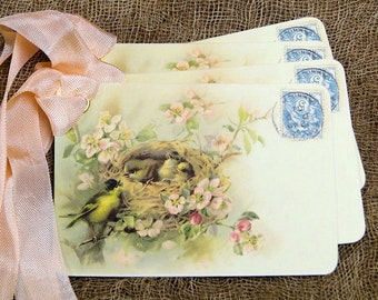 Sweet Bird Nest Postcard Tags #433