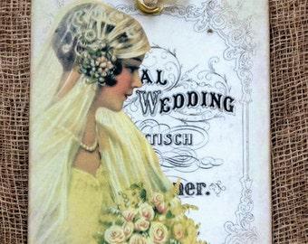 Victorian Bride Wedding Shower Favor Gift or Scrapbook Tags or Magnet #230