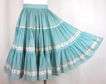 Vintage 50s Mexican / Western / Cinco de Mayo Turquoise and Silver Skirt, Sz XS