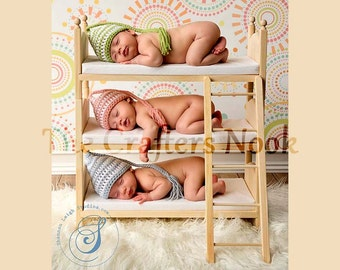 Newborn Triplets Photo Prop Triple Doll Bunk Bed Foam Mattresses and Ladder
