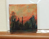 Sunset: Teeny Tiny Painting, Abstract, Original, 3x3 inches on canvas