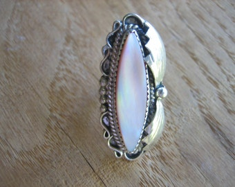 Vintage Mother of Pearl PINK BOW .925 Sterling Silver Ring
