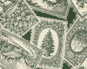 Christmas Fabric Moda Traditions Victorian Post Cards in Forest and Cream 1/2 Yard