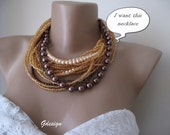 Chunky layered Wedding iridescent citrine seed bead,big-little brown glass pearl,necklace,