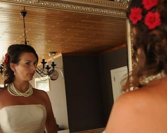 Wedding  Bold Bridal Ivory Pearl Necklace,  Layered Pendant , Handmade  Necklace.