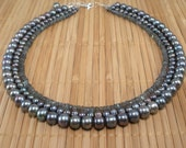 Labradorite Necklace Gray Pearl Necklace Tiered Necklace Gray Multistrand  Shimmery Gray Gemstone Freshwater Pearls Sterling multi length