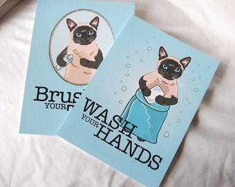 Siamese Cat Bathroom Prints - 5x7 Eco-friendly Pair