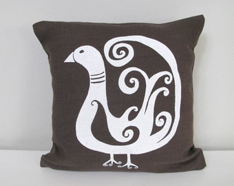 Pillow Cover - Cushion Cover - Bird design - 12 x 12  inches - Choose your fabric and ink color - Accent Pillow